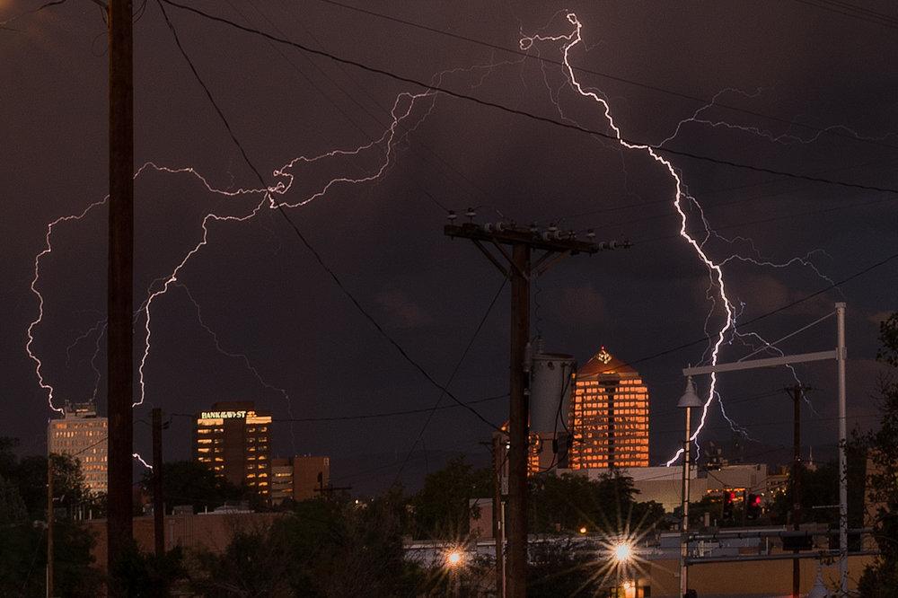 Lightning show over downtown Albuquerque.