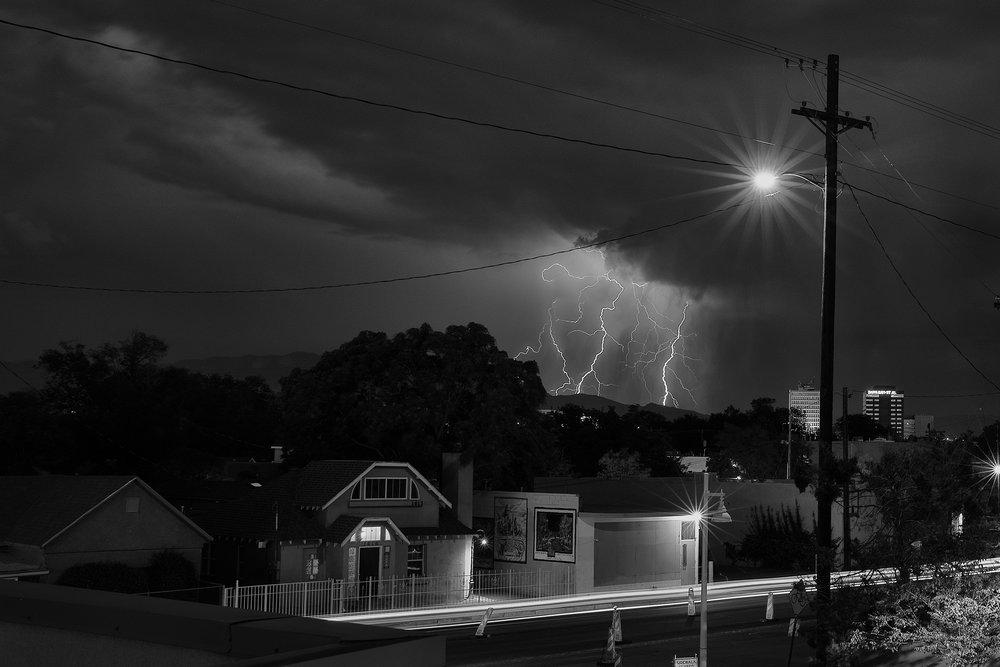 Lightning over the ridge.