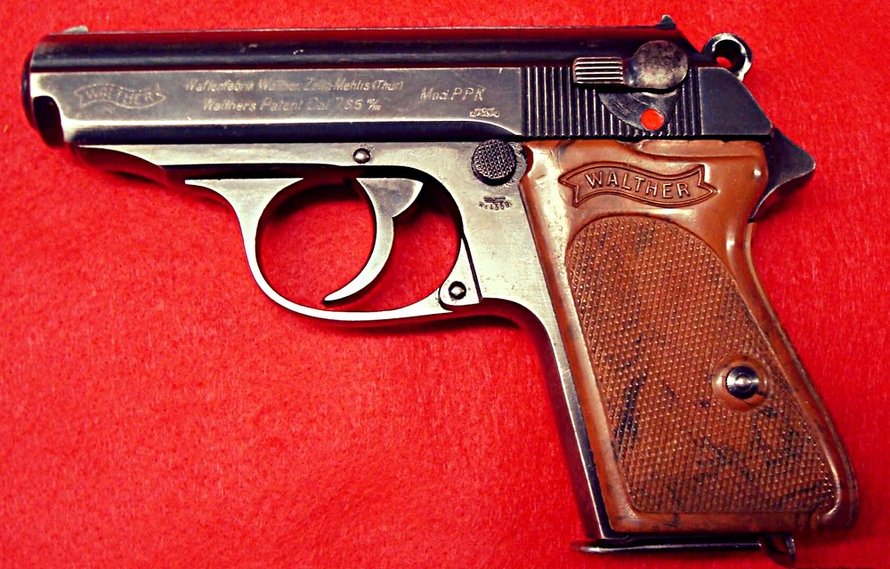 Walther PPK - Boothroyd suggested in passing that Bond should carry the German made 7.65 mm Walther PPK Police Pistol as his chosen sidearm.