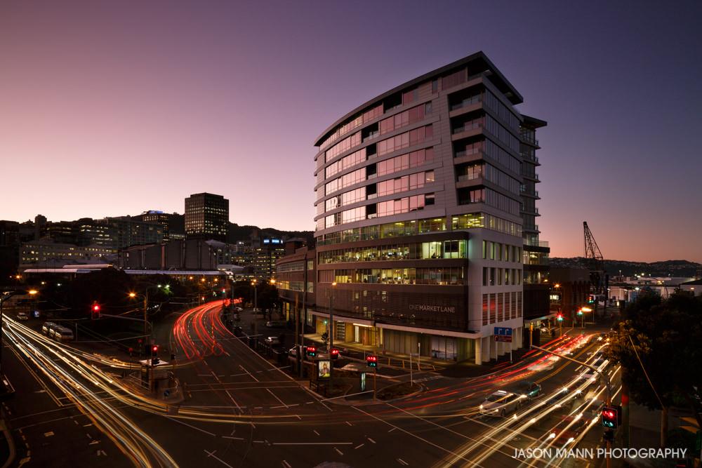© Jason Mann Photography - One Market Lane, Wellington. Exterior Dusk