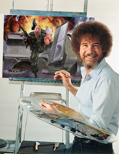"Behind the Scenes look at Bob Ross creating the ""Airplane""-inspired painting entitled 'Dave Kills Babies"""