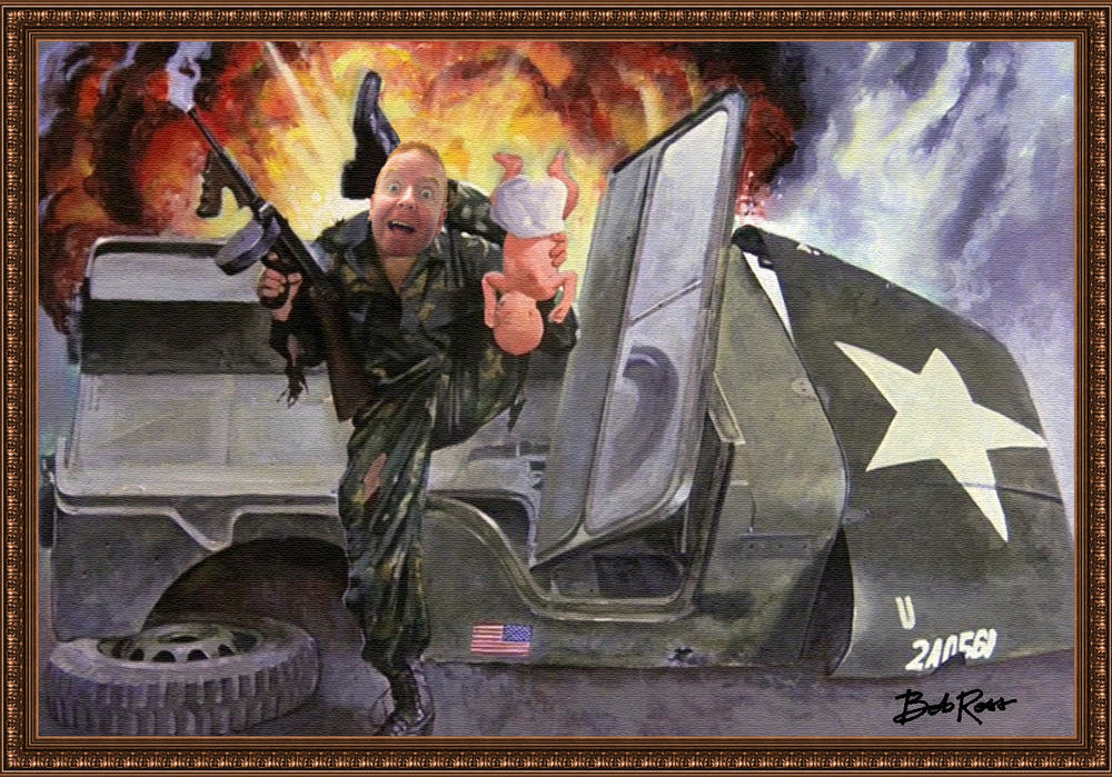 Painting of Dave Striker at war