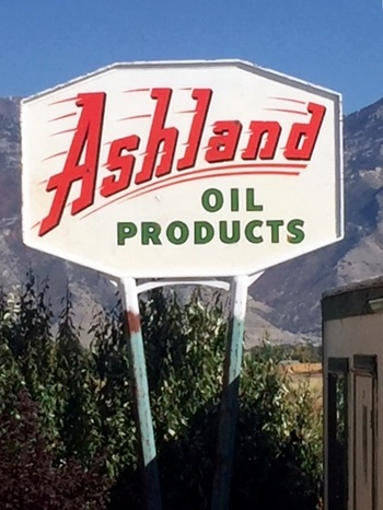 - The Ashland Oil Co was founded in 1927 in Ashland Kentucky by a guy named Paul Blazer and had a very long aggressive history of buying up other oil and chemical companies until 2007 when it divested itself of the gas/oil division. The Brand never actually made it to Utah until now.The sign is flashy and different and fits great along the row of 108 standing signs at Lakeside Storage.
