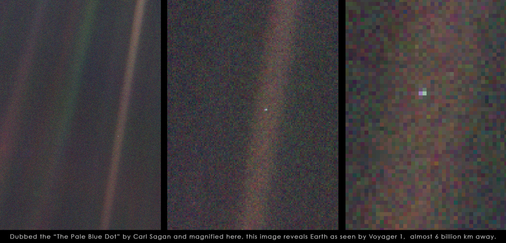 "Voyager 1 image of Earth from 6 billion km away. Taken in 1990, this image is dubbed by Carl Sagan ""PALE BLUE DOT""."