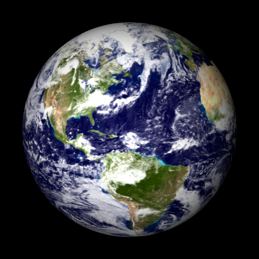 "2002 - This modern ""Blue Marble""  was created primarily from MODIS data by NASA/Reto Stockli"