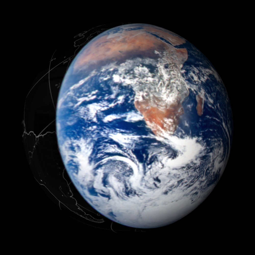 "1972 Original ""Blue Marble"" wrapped to the sphere and animated for the film."