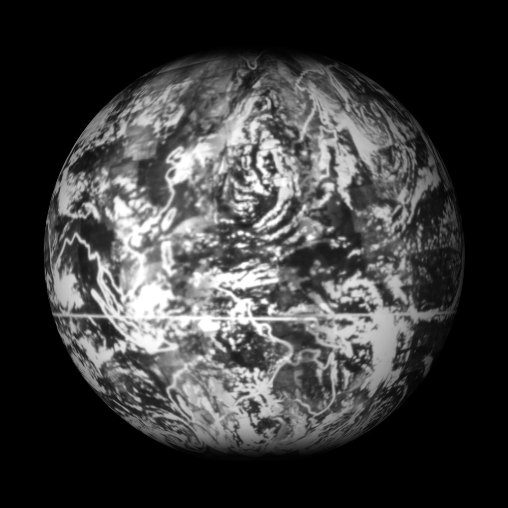 First  complete view of Earth's weather, 1965.  Assembled by NASA from 450 TIROS images.