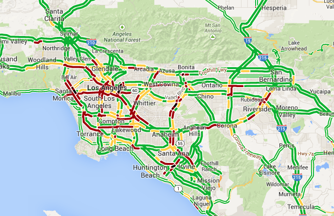 los angeles traffic all around socal courier