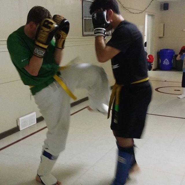 Keeping those hands up!! #devlindojo #karate #kickboxing #winnipegfighters