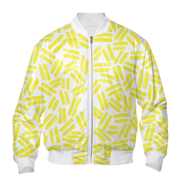 YELLOW DASH BOMBER    Polyester Outside / Cotton Inside      One Hundred Twenty Dollars