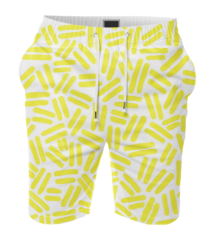 YELLOW DASH SHORTS    Cotton Shorts      Seventy Dollars