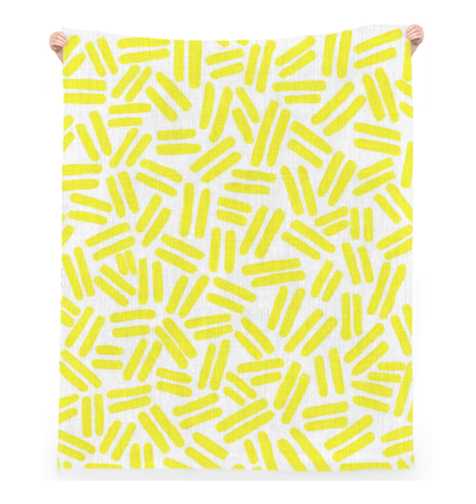 "YELLOW DASH TOWEL    Linen Beach Throw  52"" x 70""       Seventy Dollars"
