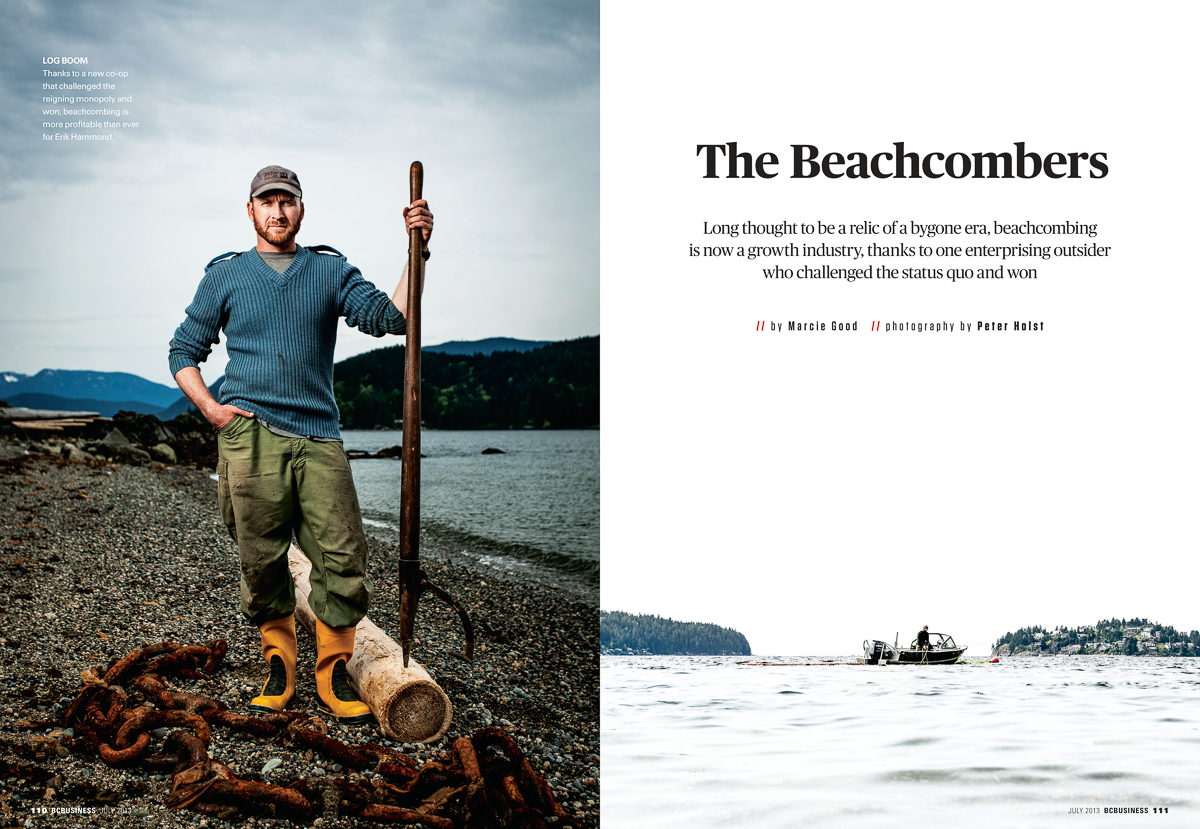 Like father, like son. Eric Hammond took up the family practice of beachcombing after his late father, scavenging the coastlines for valuable drift wood. I had the pleasure of following Eric around on his boat for a day, while getting insight into a profession I never knew existed. Editorial portrait. BCBusiness Magazine July issue.