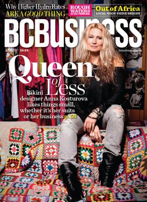 BCBusiness Magazine cover of international swimwear designer Anna Kosturova.