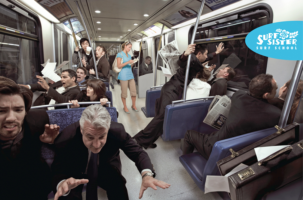 Created this ad for the Surf Sisters surf school in collaboration with Big House Communication. The train was shot first without any passengers in it. The passengers were then shot separately in studio, carefully matching them up with the interior of the train and then incorporated into the scene in post. The ad was chosen by Luerzer's Archive to run in one of their issues.