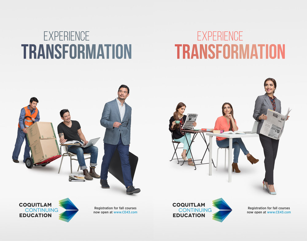 Print campaign for Coquitlam Continuing Education. The client wanted a quick read concept that showed the process of transformation from former job to new career.