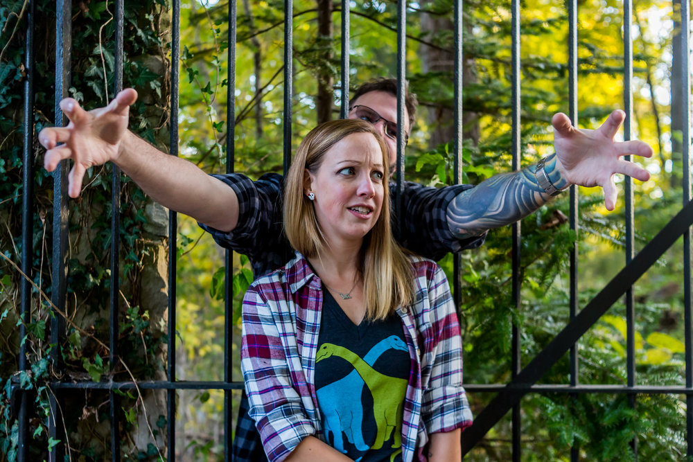 A newly engaged couple have some spooky Halloween fun during their engagement session in Lafayette, Indiana.