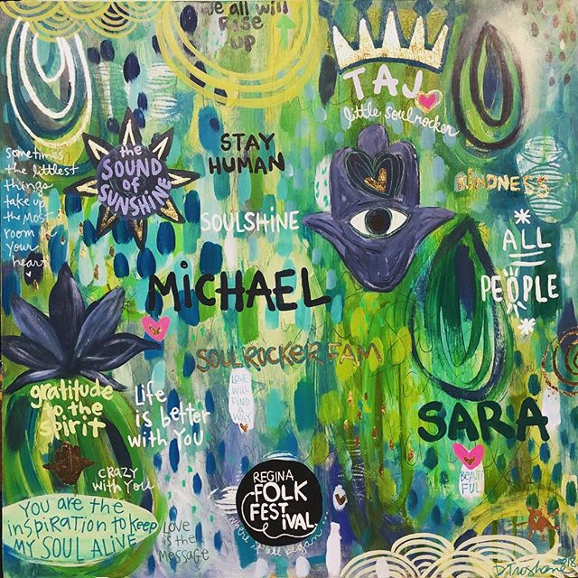 My offering to Michael & Sara Franti and their new baby SoulRocker Taj. #soulshine #soulshineartstudio #yayart #michaelfranti #soulrockerfam #soulrocker #artheals #art #theparamountny #love #artforartists #giveback #fromtheheart #gratitude