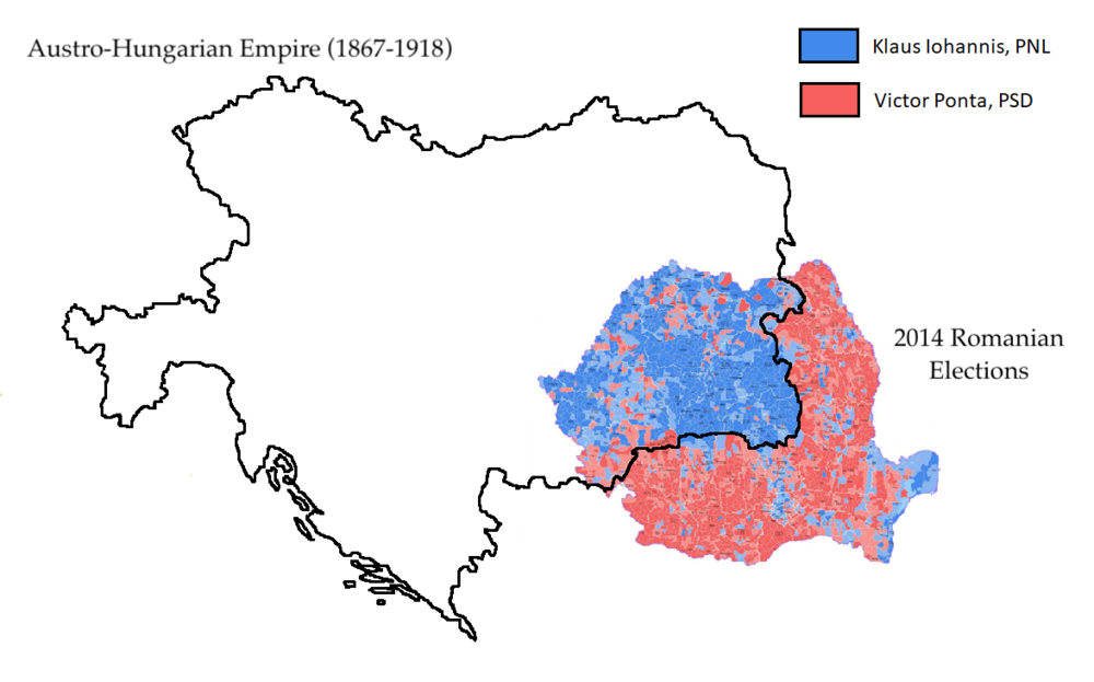 Austro-Hungarian Empire overlapping with 2014 Romanian elections copy.png