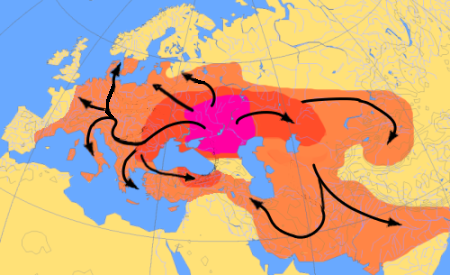 Spread of Indo-European language - Kurgan Hypothesis.png
