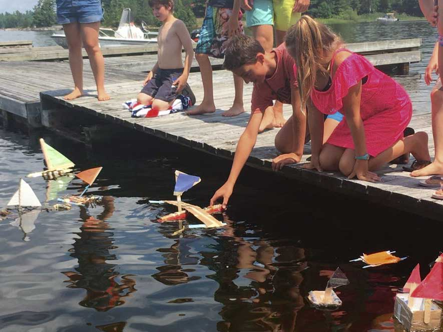 Campers made sail boats during Wind and Water Week.