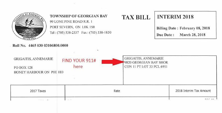 Example of where to find your 911 Number on your tax bill.