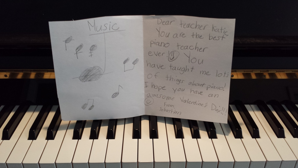 Seattle piano teacher in Madison Valley recevies a Valentine from her student.