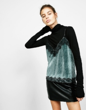 bershka / velvet top with lace trim / $15  casually losing my mind