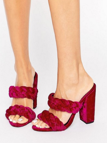 asos / highgate velvet plaited mules / $64  praise to the genius who made these babies