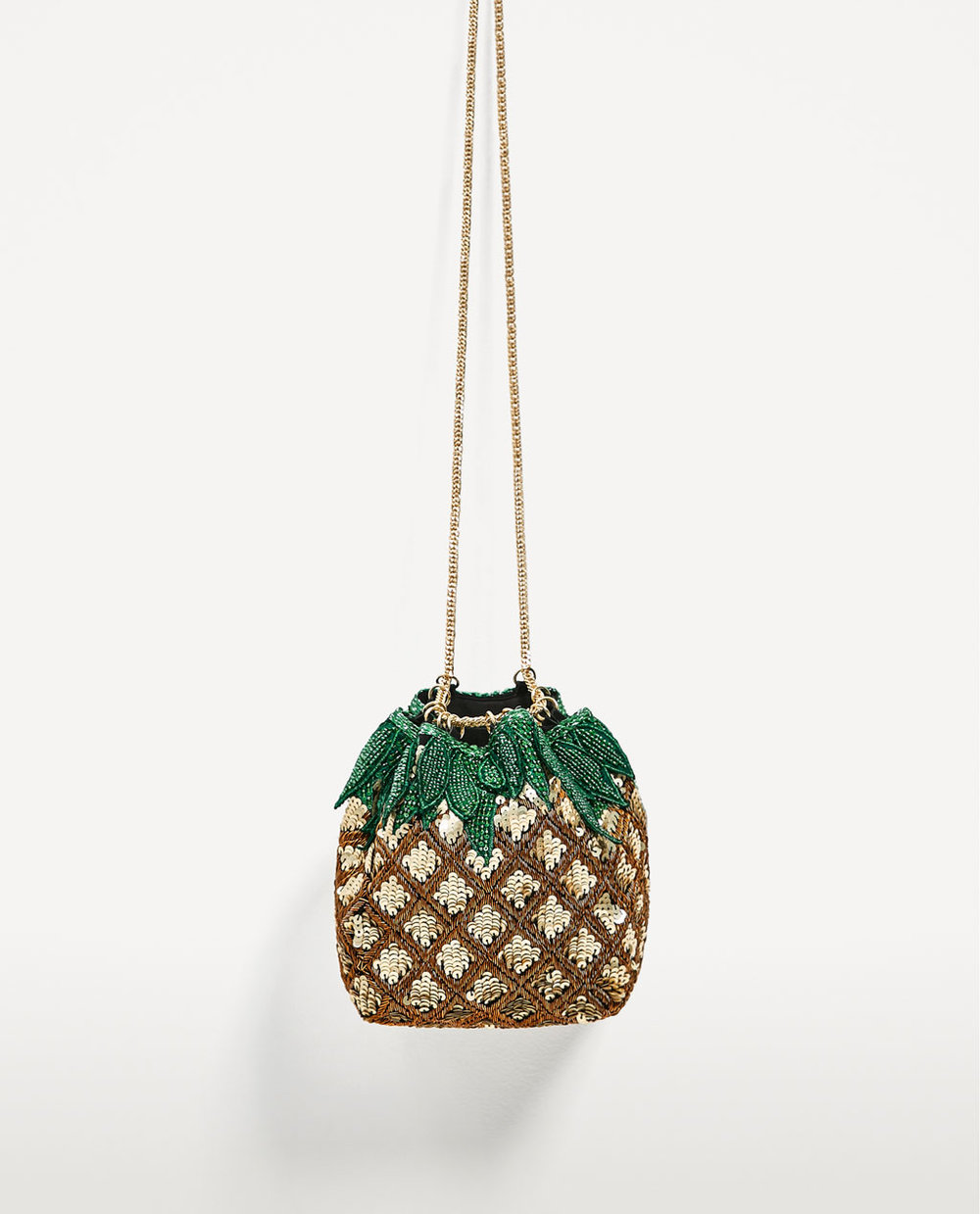 Pineapple Bucket Bag with Beads  / Zara / $70
