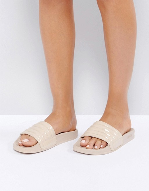 Slydes Port Padded Nude Slide Flat Sandals / ASOS / $40  Monochrome PERFECTION