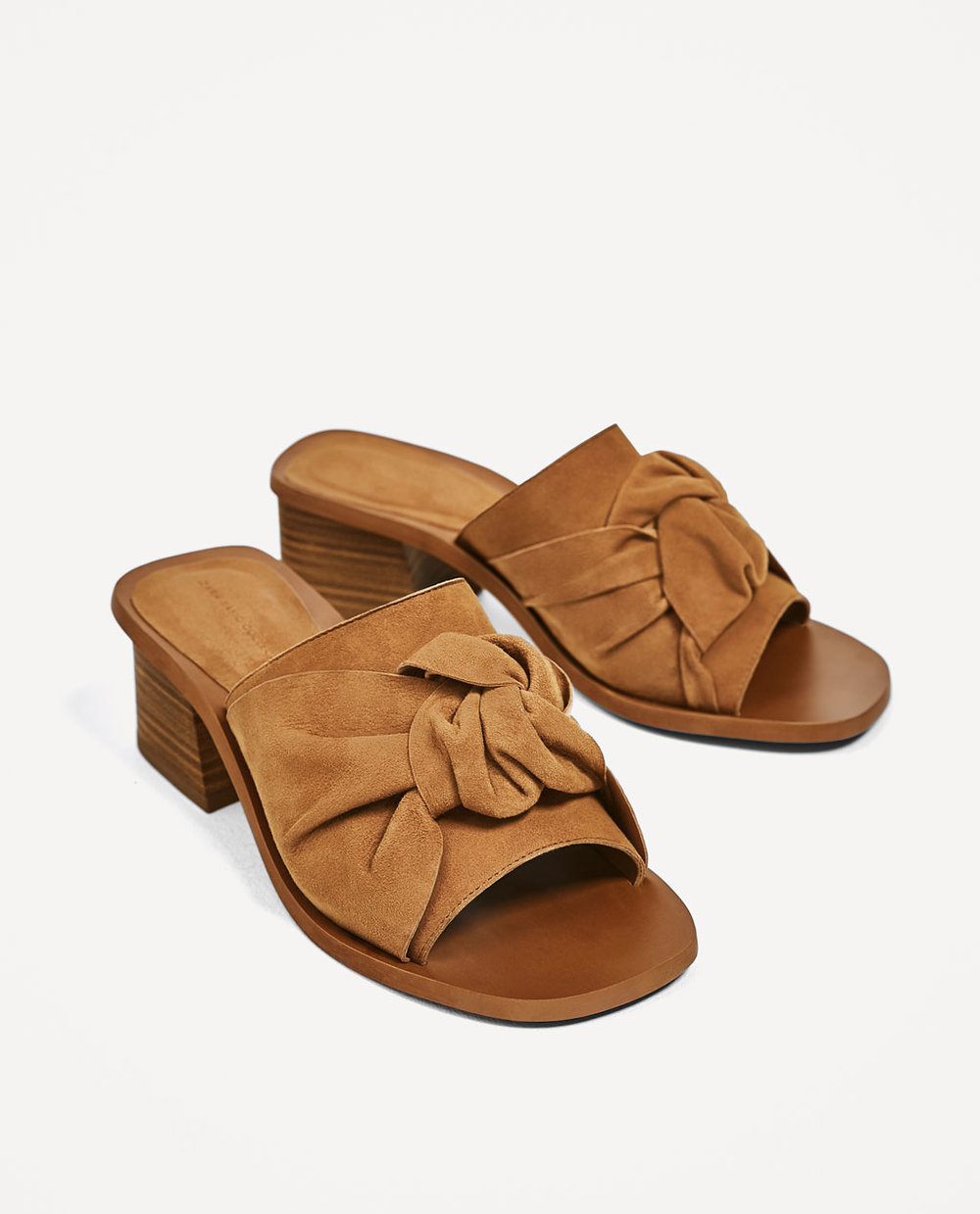 Knotted Leather Mules / Zara / $69 The tan color with the knot... this is on my list!
