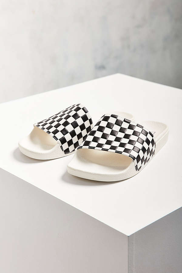 Vans Checkerboard Pool Slide / Urban Outfitters / $30  Cali chill and pool friendly