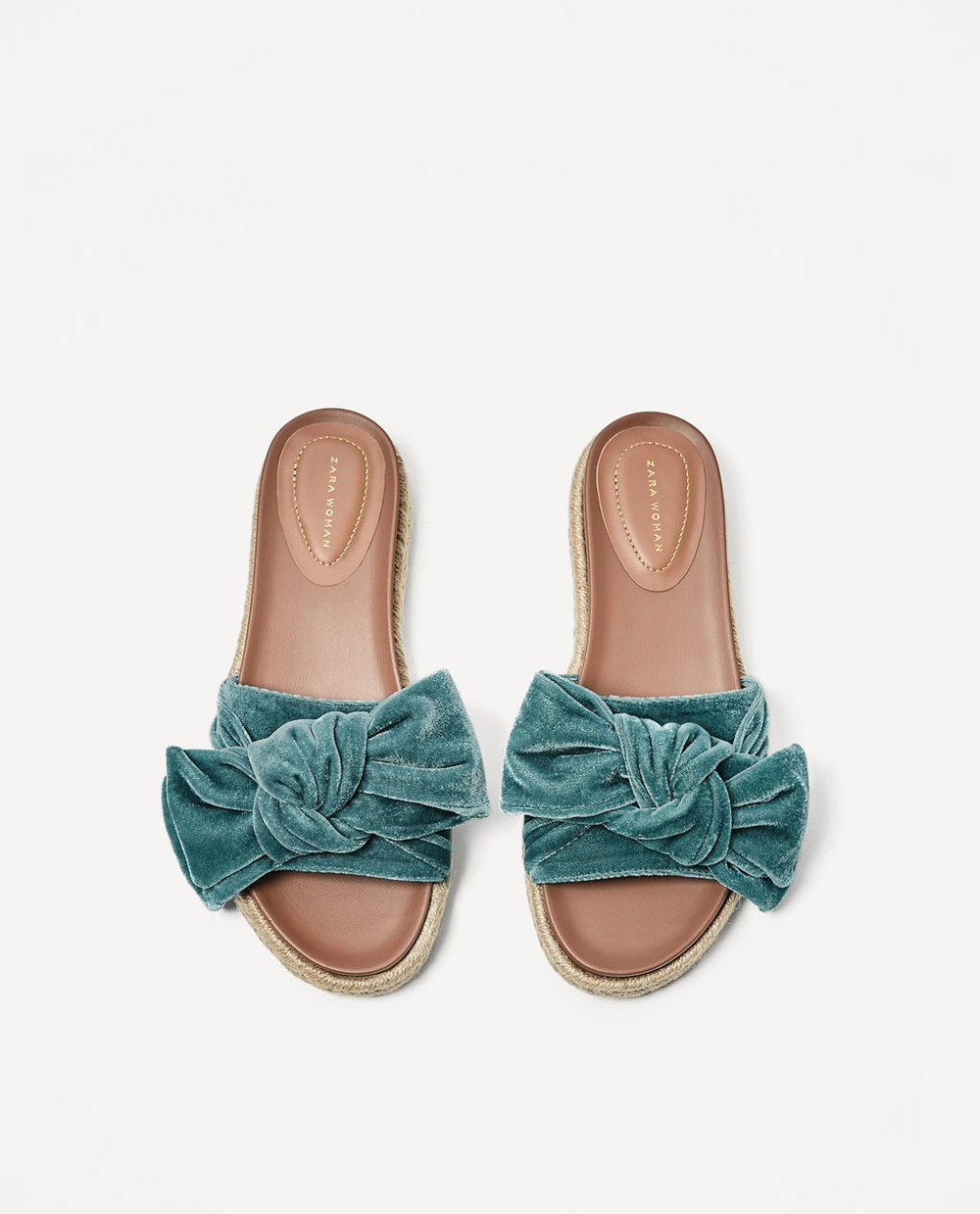 Velvet Bow Slides / Zara / $60  Zara is not playing around this season - SEA GREEN and VELVET!