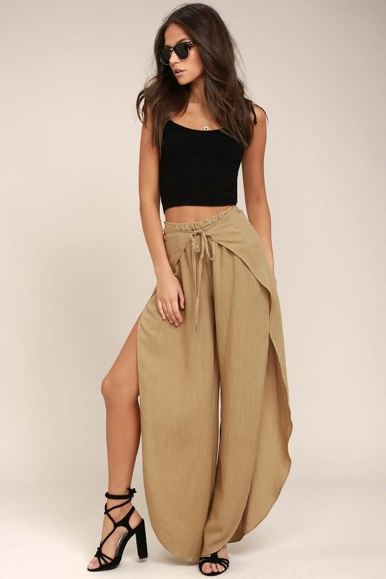 Walk down the beach in these and try not to lose your mind  AT MY BEST BEIGE WIDE-LEG PANTS / Lulus / $42