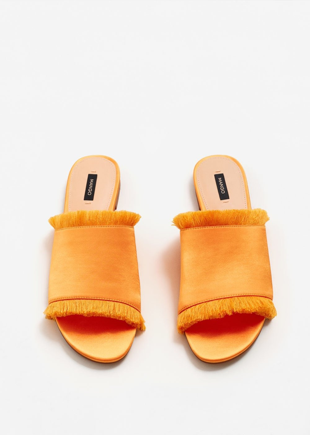 I JUST saw these slides at Mango after last week's post - orange with the fringe? JUICY.  Fringe satin slides / Mango / $50