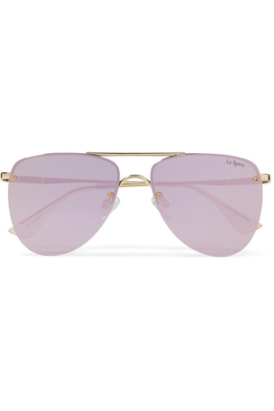 And again!! The lavender is divinee   Le Specs The Prince Aviator-Style Gold-Tone Mirrored Sunglasses / Net-A-Porter / $90