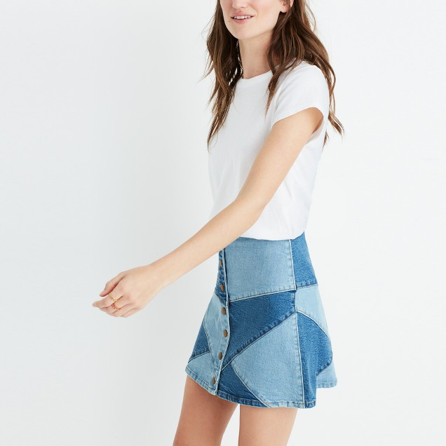 I'm clearly a denim skirt pusher  Pieced Jean Skirt / Madewell / $78