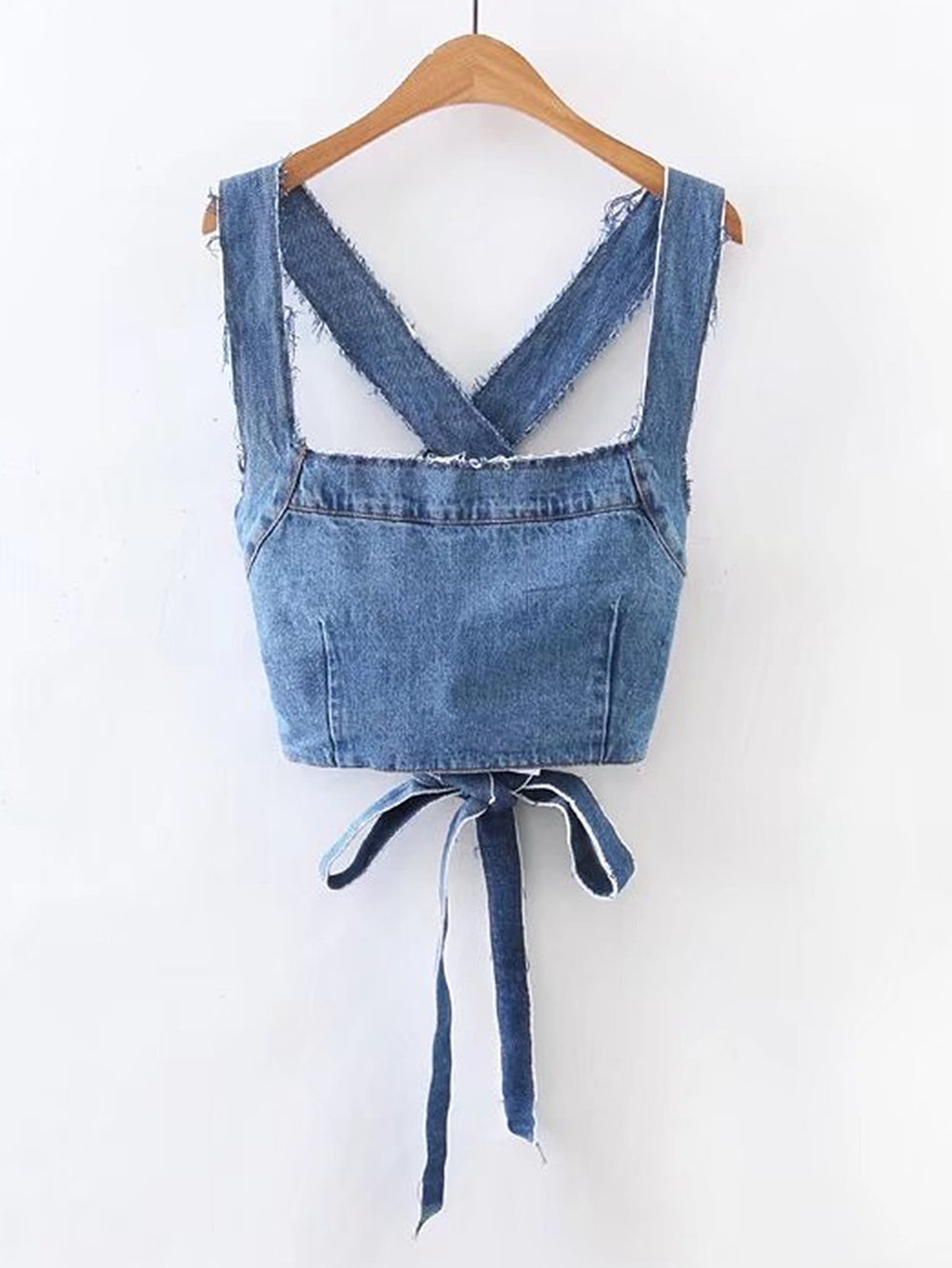 Woahhh this is ready for some crazy combos  Frayed Detail Criss Cross Back Denim Top / Romwe / $15