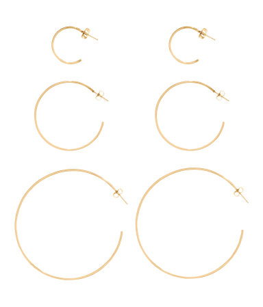 Necessary this summer and a good cheap set  3 Pairs Hoop Earrings / $7 / H&M