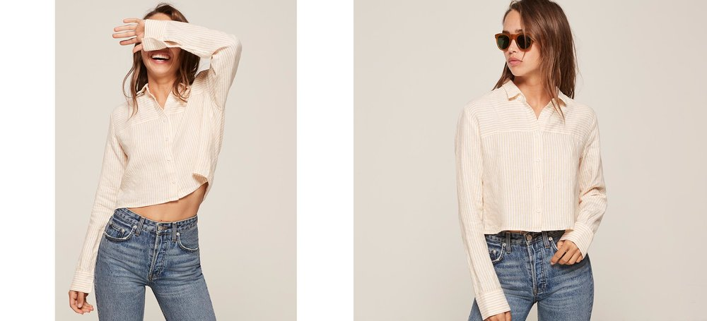 breaks my heart this top is sold out, the faint yellow 70s top ayee  Beachcomber Top / Reformation / $78