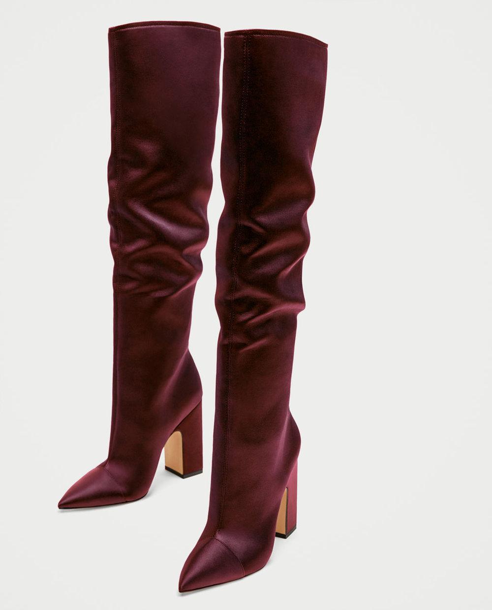 DFWM boots, pure icing Sateen High Heel / $99 / Zara