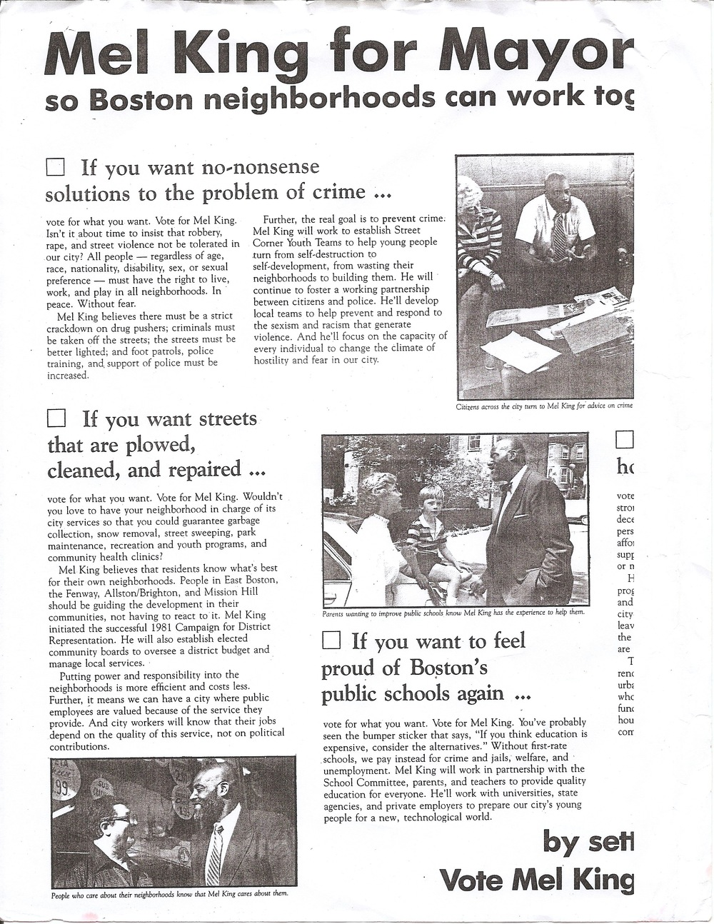 Brochure of Mel King's mayoral  campaign issues, Mel King Papers, Roxbury Community College.