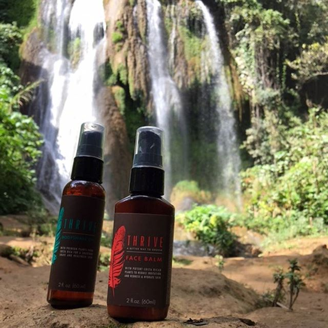 We left Havana City to #explore Cuba's majestic waterfalls located at Topas de Collante. After a long hike use Thrive's Face Balm to protect and restore your skin from sun damage. #naturalskincare #farmtoface #owntheday #cuba