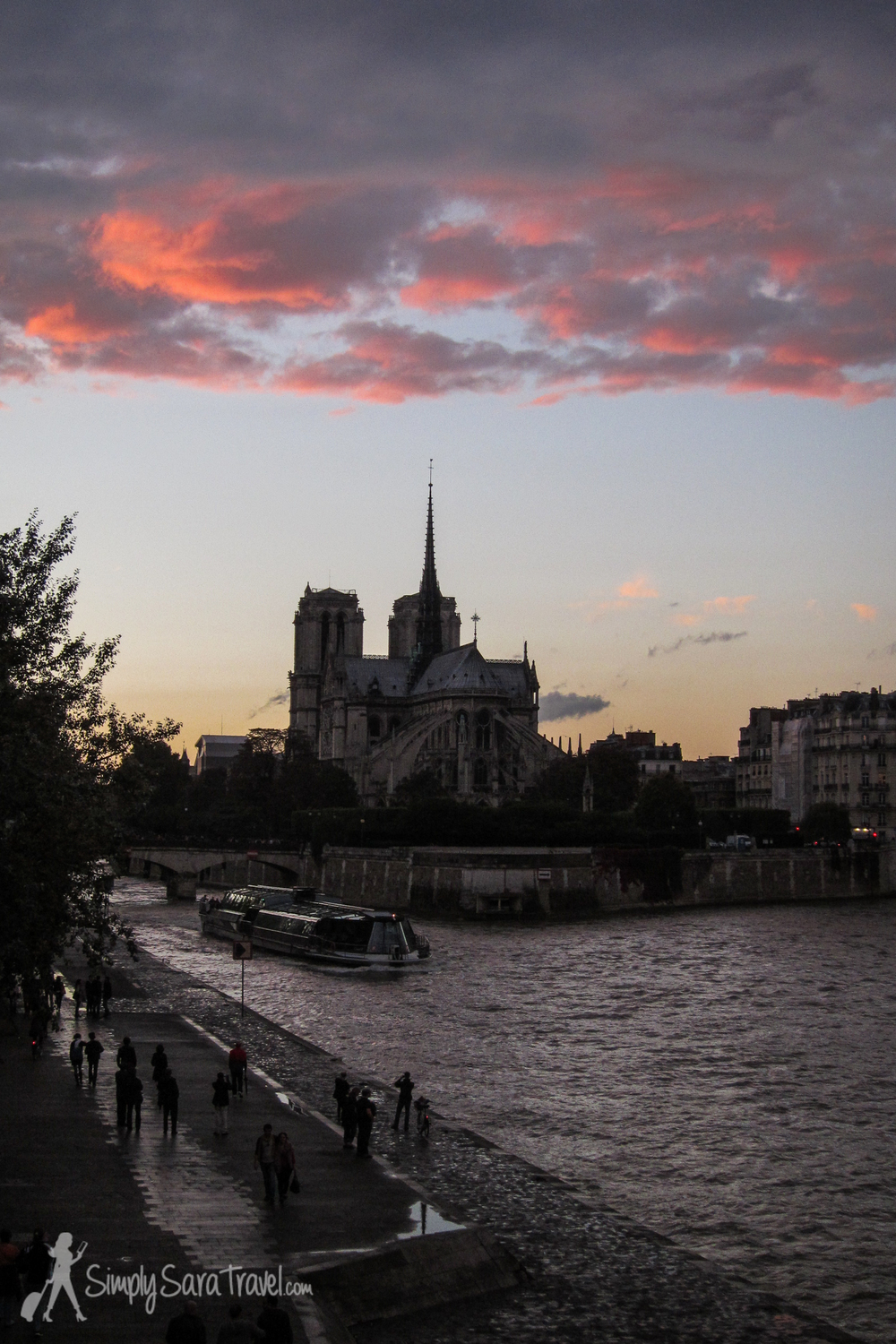 Sunset over Notre Dame from along the Seine, Paris, France