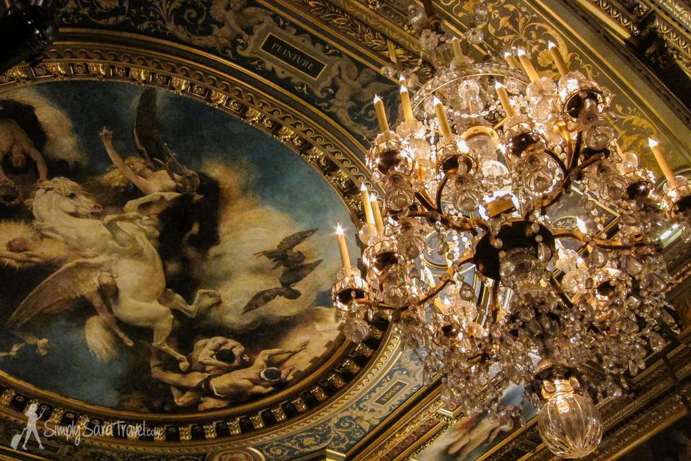 Chandelier and ceiling insideHôtel de Ville, Paris, France