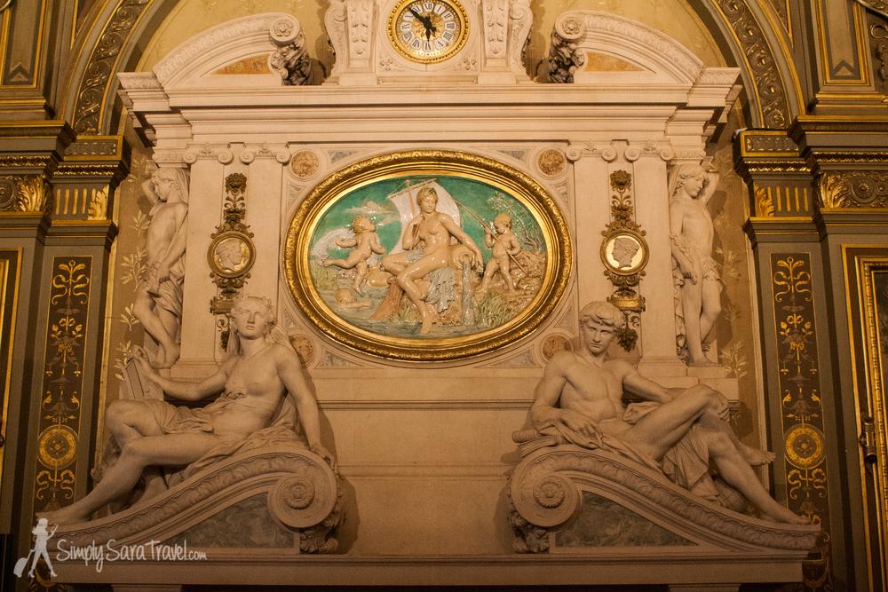 Fireplace and sculptures ofParis' Hôtel de Ville, France