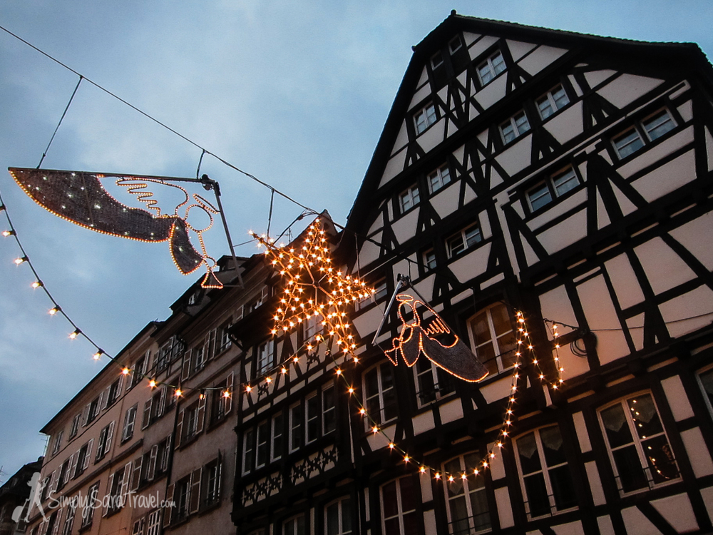 Timbered houses in Strasbourg at Christmas