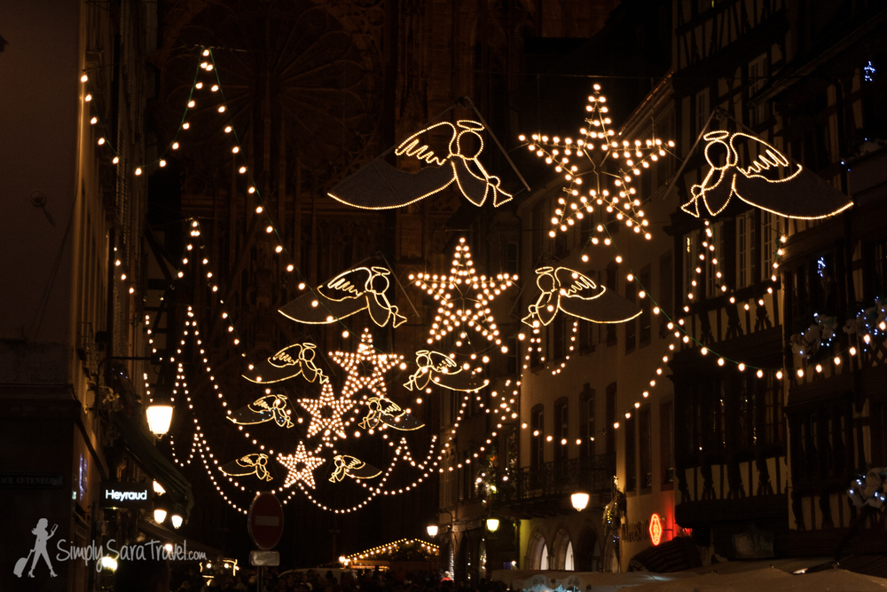 Strasbourg, France lit up by angels and stars at night