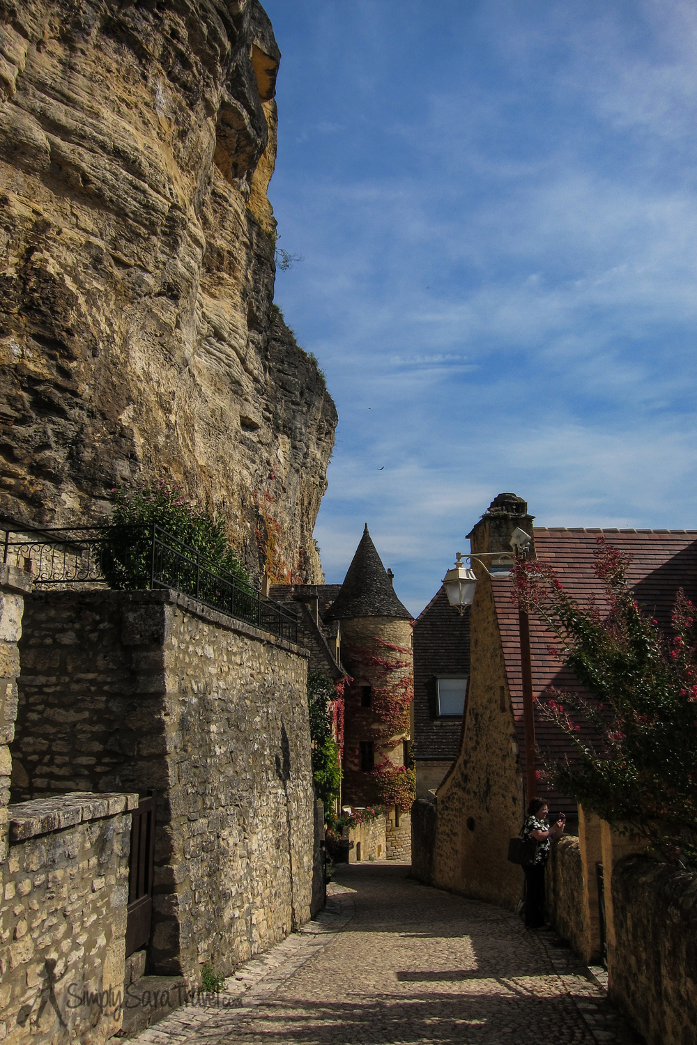 Looking down the street of La Roque-Gageac, Dordogne, France